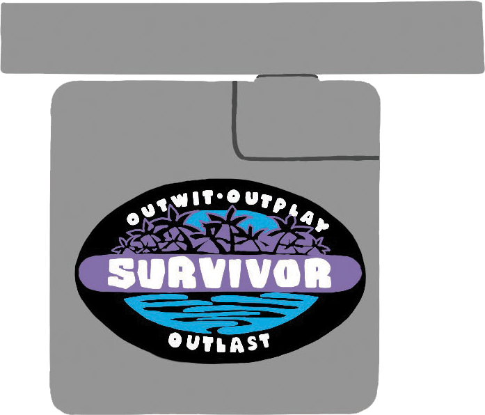 Illustration of a laptop charger with a Survivor logo on it
