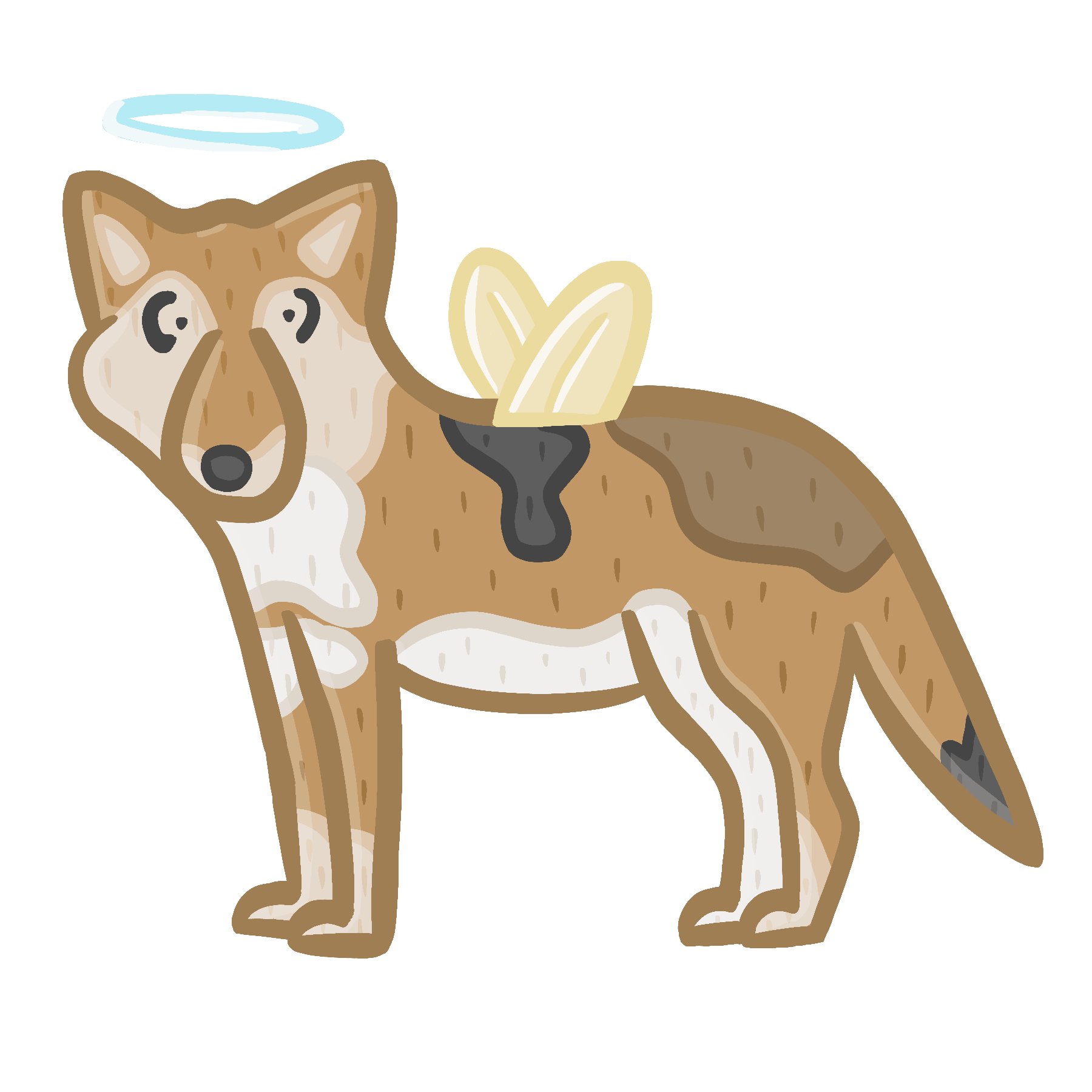 Image of a coyote with wings and a halo. On click it disappears then reappears on a second click.