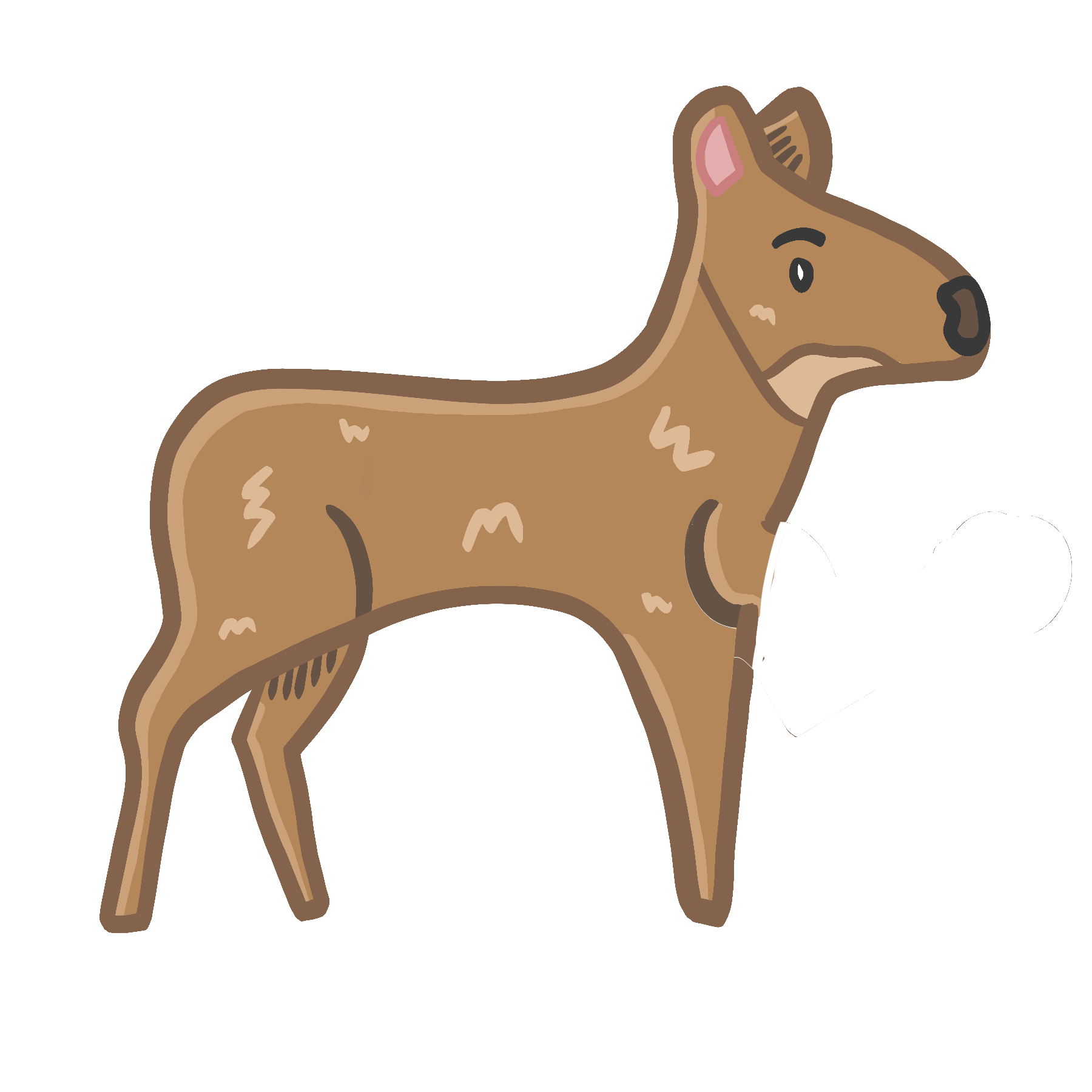 Image of a cartoon deer with a dumbbell in its front leg/arm. On click the deer lifts the weight.