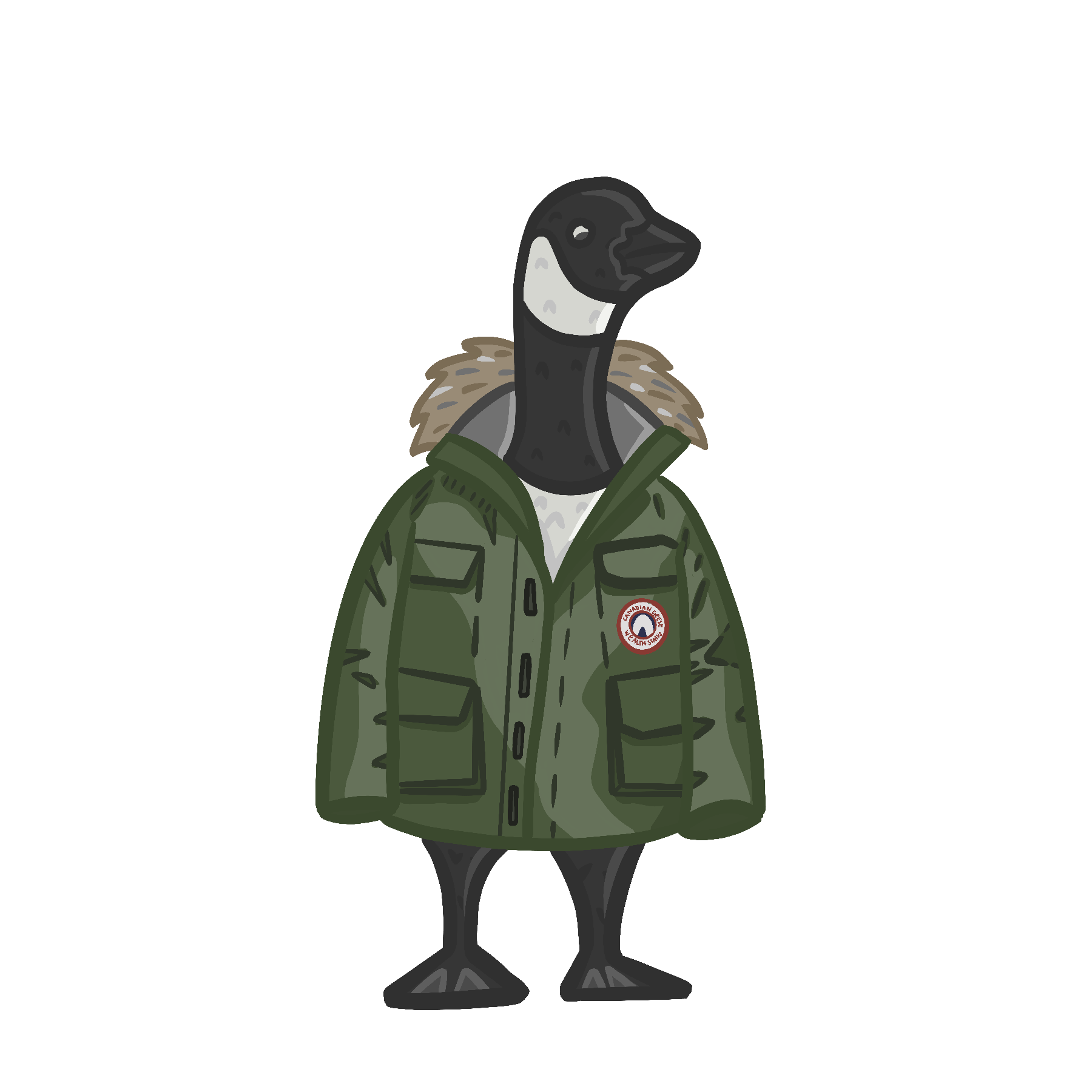 Image of a cartoon Canadian Goose wearing a green Canada Goose jacket