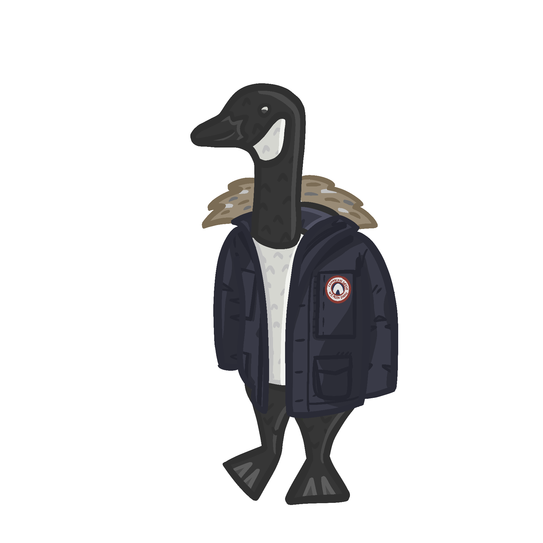Image of a cartoon Canadian Goose wearing a blue Canada Goose jacket