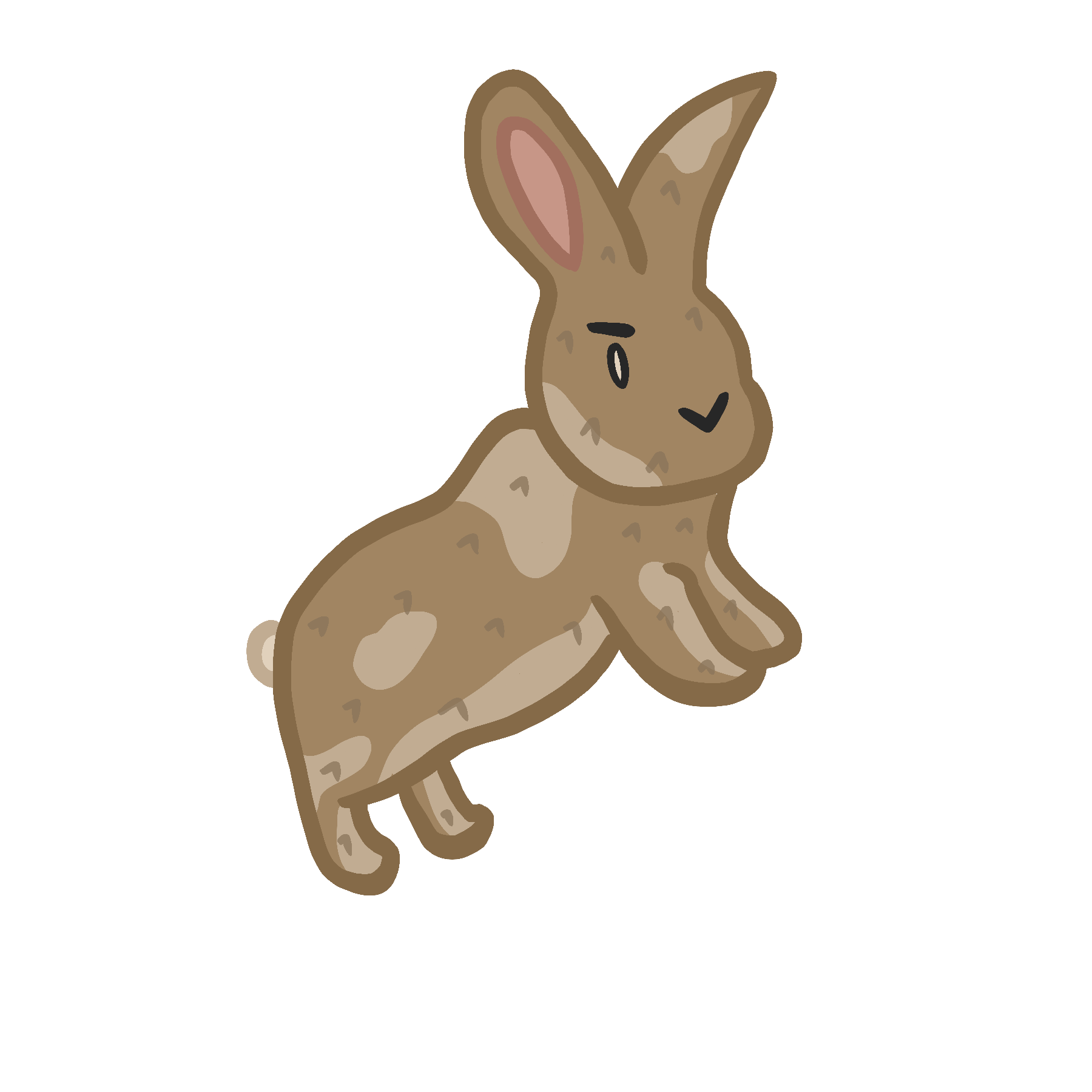 Image of a brown cartoon rabbit. On click it starts to jump.