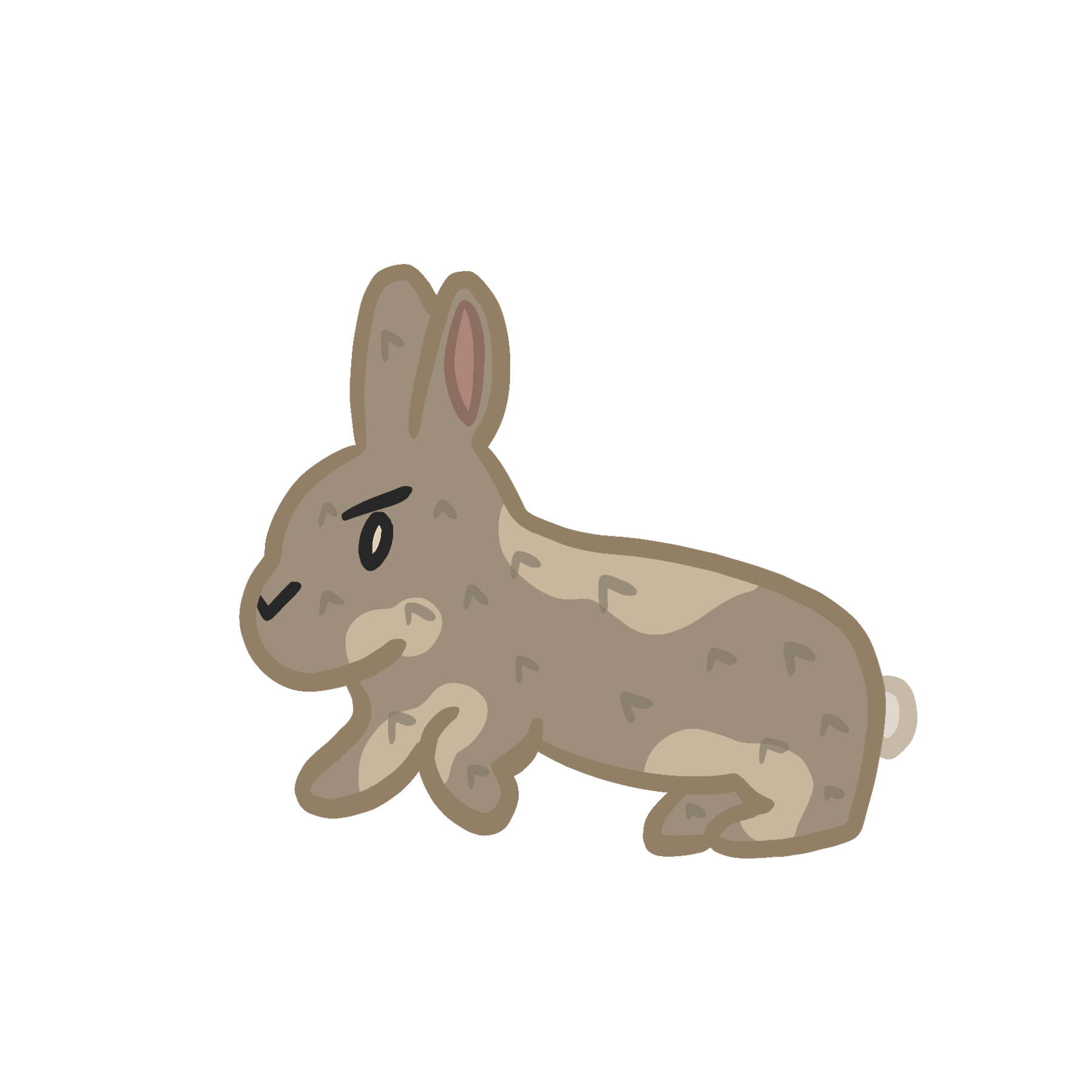 Image of a gray cartoon rabbit. On click it starts to jump.