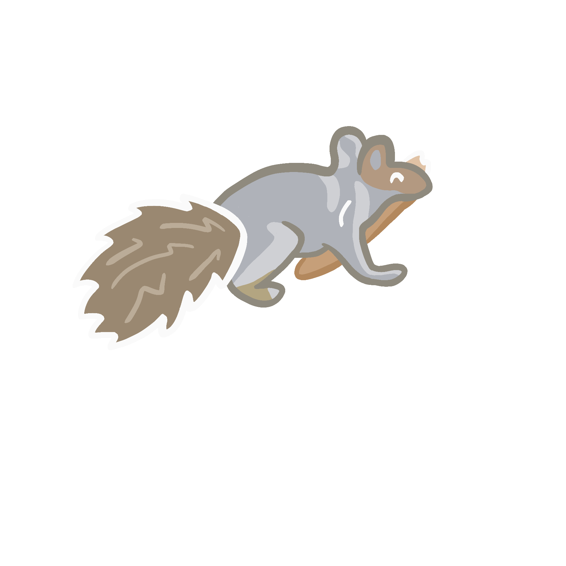 Image of a cartoon squirrel with a slice of pizza in its mouth
