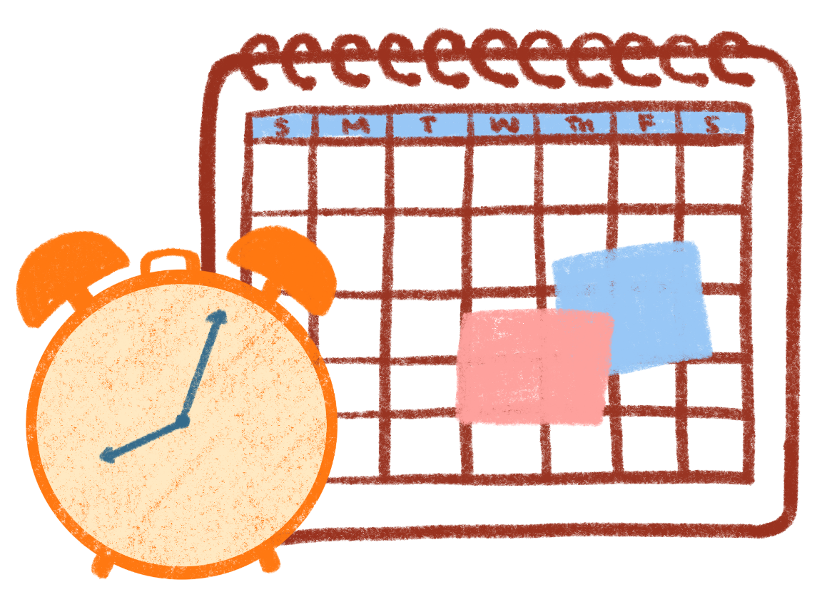 a drawing of a clock and a calendar