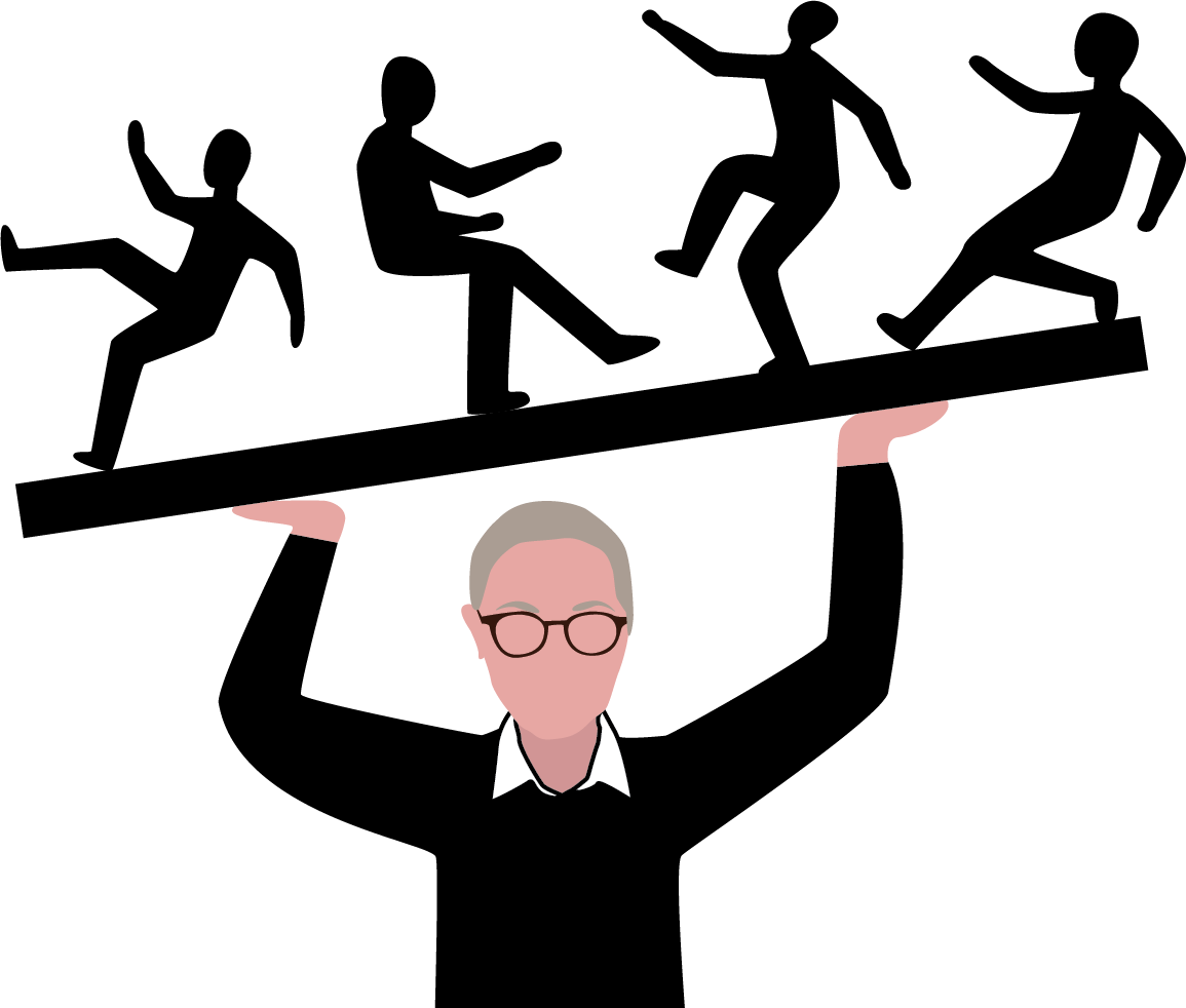 An illustration of Kathleen Hagerty holding professors on a tilted board above her head