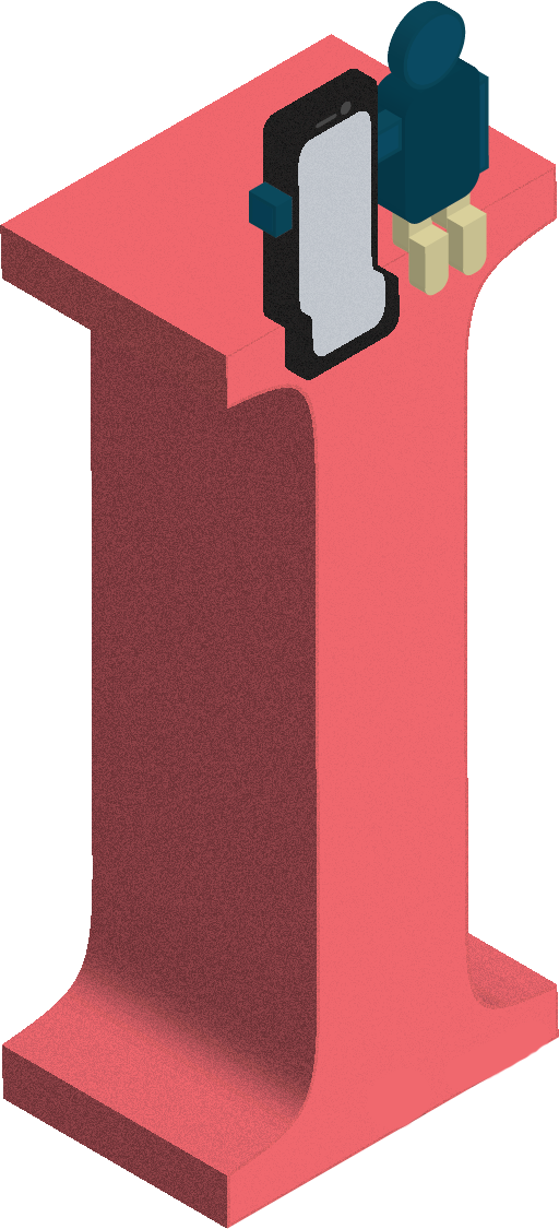 An illustration of a three-dimensional letter I, with a person and a phone sitting on top