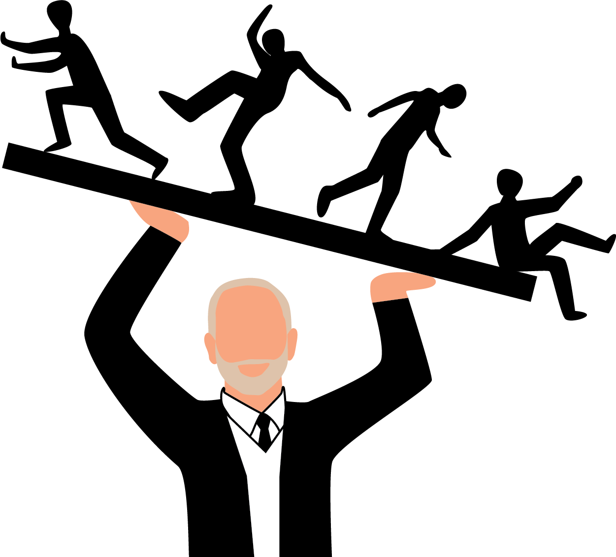 An illustration of President Morton Shapiro holding professors on a tilted board above his head